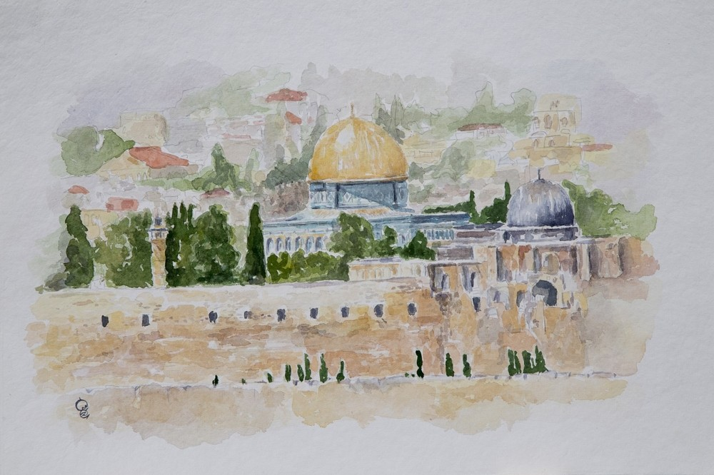 A painting of the Dome of the Rock in Jerusalem.