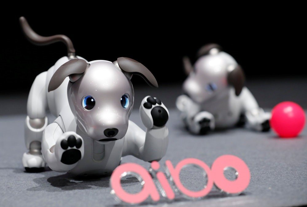 Sony Corp's entertainment robot ,aibo, is pictured at its demonstration in Tokyo.