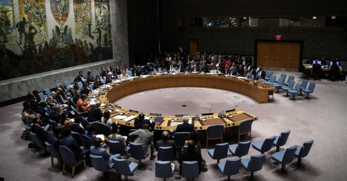 The U.N. Security Council members during a meeting in the council's headquarters in New York, the United States, Aug. 20, 2019. (AA Photo)