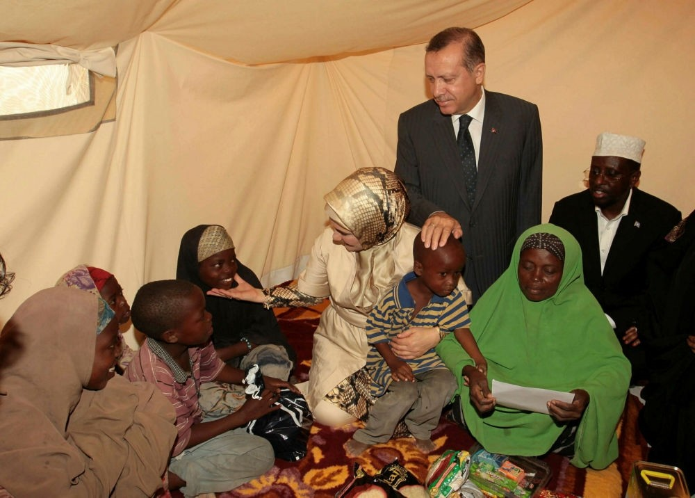Then-prime minister Recep Tayyip Erdou011fan met a Somalian family during his visit to the country in 2011 which marked the start of a massive humanitarian campaign.