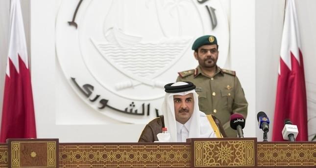 Emir Sheikh Tamim bin Hamad al-Thani is seen as he speaks to members of Qatar's Shoura Council in Doha, Qatar, November 14, 2017. (Reuters Photo)