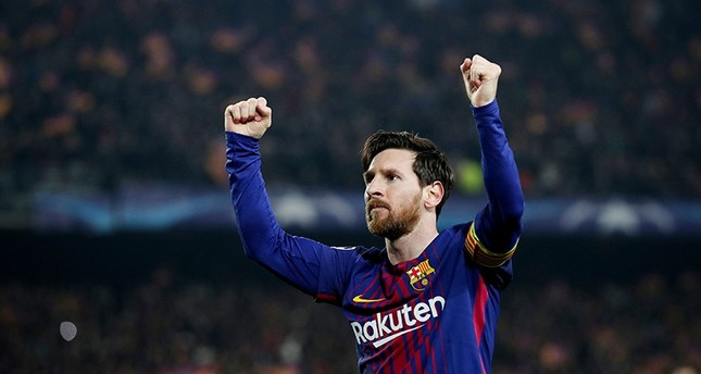 Barcelona's Lionel Messi celebrates scoring their third goal on March 14, 2018. (Reuters Photo)