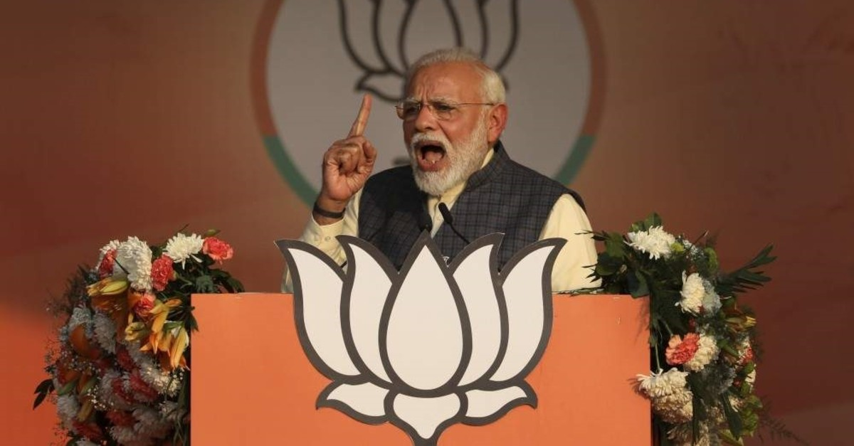 Indian Prime Minister Narendra Modi addresses his Bharatiya Janata Party's campaign rally, New Delhi, Feb. 3, 2020. (AP Photo)