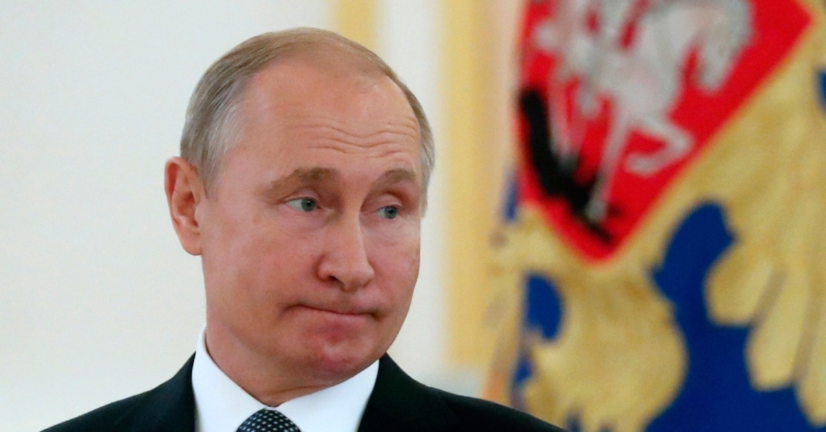 Russian President Vladimir Putin attends a ceremony to receive credentials from newly appointed foreign ambassadors to Russia in Kremlin, Moscow, Russia, Wednesday, July 3, 2019. (AP Photo)