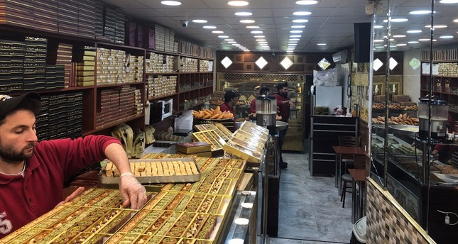 A shop that sells traditional Syrian desserts in Aksaray, a neigborhood in the Fatih district of Istanbul with high numbers of stores owned by Syrian entrepreneurs.