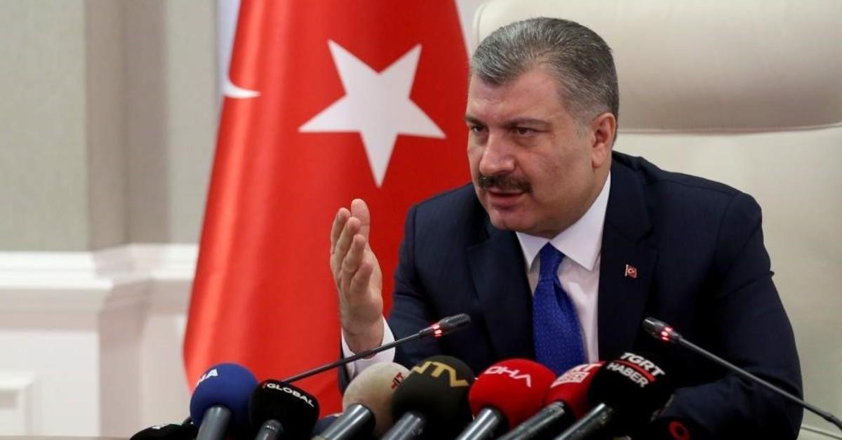 Health Minister Fahrettin Koca speaks to reporters at a press briefing on the coronavirus, Ankara, Feb. 3, 2020. (AA Photo)