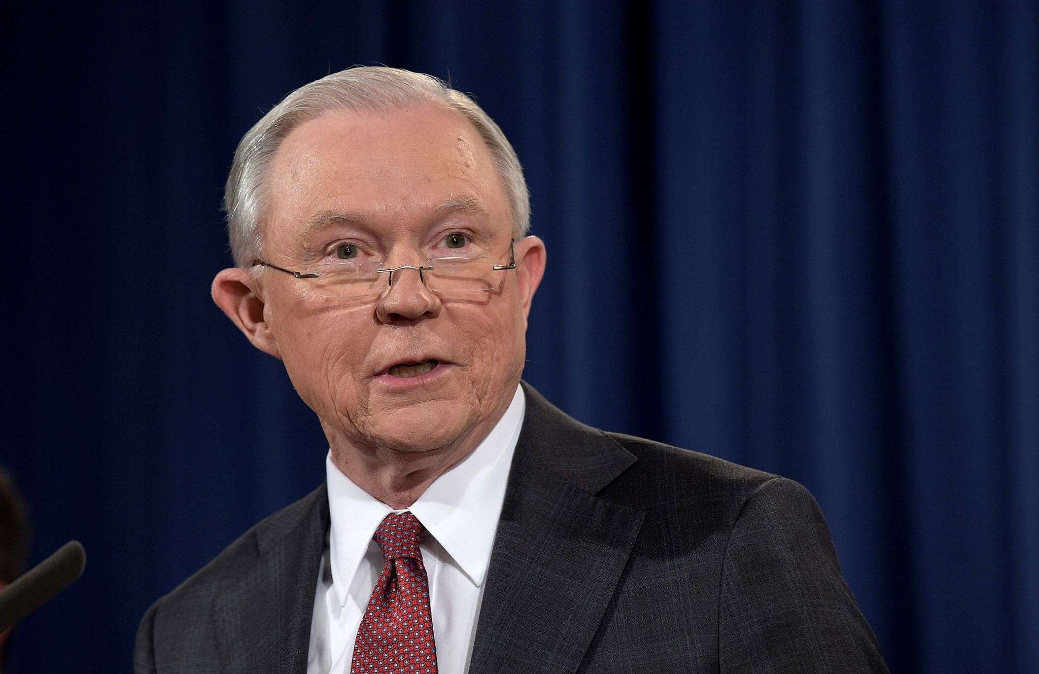 Attorney General Jeff Sessions speaks at the Justice Department in Washington, Thursday, March 2, 2017. (AP Photo)