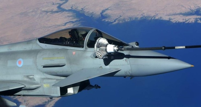 This Sept. 21, 2016, file photo, shows the U.K. Royal Air Force Eurofighter Typhoon fighter jet refueling from a tanker aircraft during an anti-Daesh coalition mission over central Iraq. AFP Photo