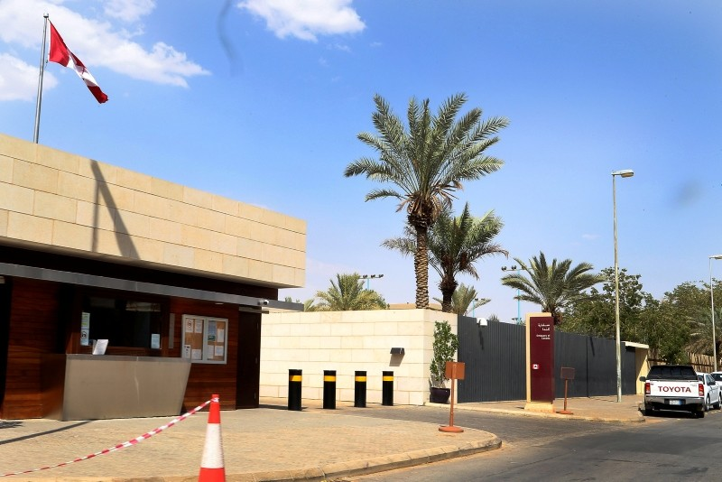 An exterior view of the Canadian Embassy in the embassies district in Riyadh, Saudi Arabia, Aug. 6, 2018. (EPA Photo)