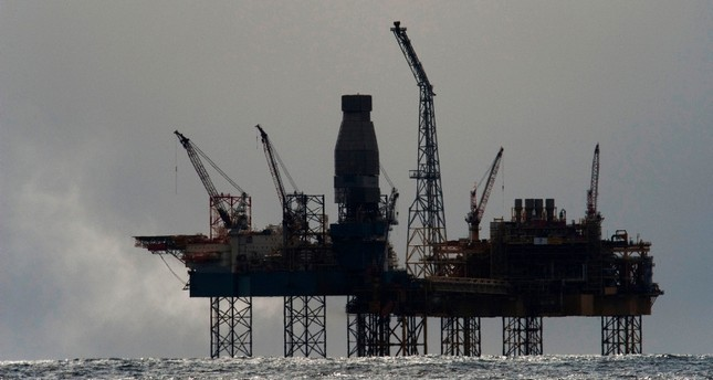 This file photo taken on April 02, 2012 shows French energy giant Total's Elgin rig, 150 miles (240 kms) from Aberdeen in eastern Scotland, in the North Sea. (AFP Photo)