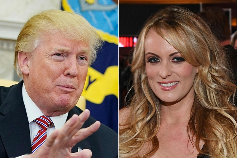 This combination of file pictures shows US President Donald Trump and adult film actress/director Stormy Daniels as she hosts a Super Bowl party at Sapphire Las Vegas Gentlemen's Club in Las Vegas (AFP Photo)