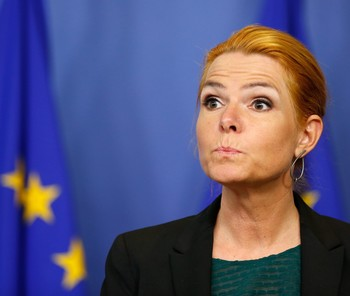 Danish Immigration Minister Inger Stojberg during a press conference at the EU Commission in Brussels, January 6, 2016. (EPA Photo)