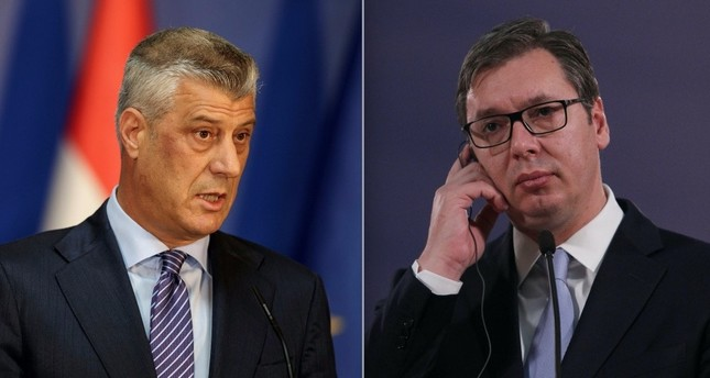 Kosovo president Hashim Thaci (L) and his Serbian counterpart Aleksandar Vucic