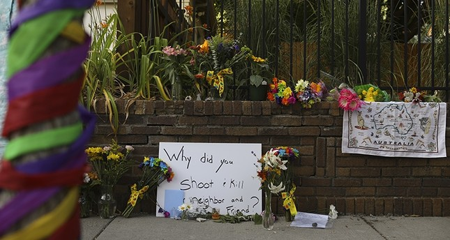A memorial to aJustine Damond, from Sydney, Australia, who was shot and killed late Saturday by police, is seen Sunday evening, July 16, 2017 in Minneapolis. (AP Photo)