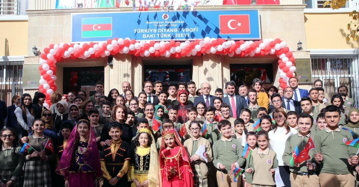 First lady Emine Erdou011fan attends an inauguration ceremony of a Turkish-Azeri High School in Baku, Oct. 31, 2017.