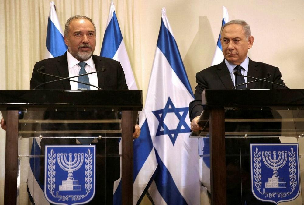 Israeli Defense Minister Avigdor Lieberman and Prime Minister Benjamin Netanyahu at Israeli parliament in Jerusalem.