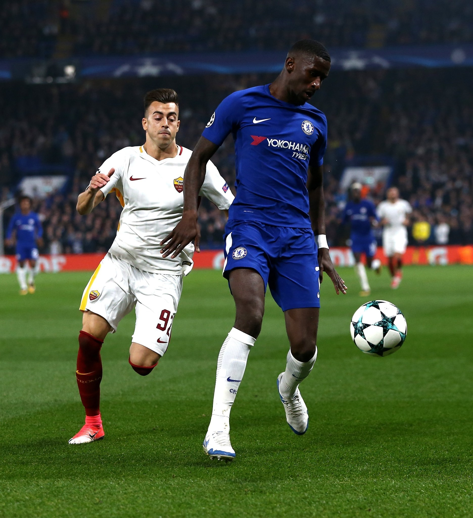 Roma's Stephan El Shaarawy (L) vies for the ball against Chelsea's Antonio Ruediger (R)  during the UEFA Champions League Group C soccer match between Chelsea FC and AS Roma. (EPA Photo)