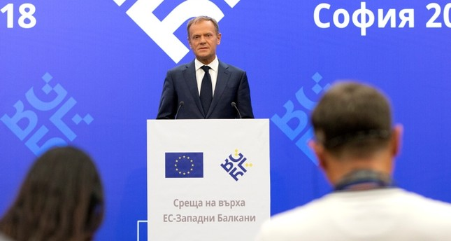 European Council President Donald Tusk speaks during a media conference prior to an EU-Western Balkans summit at the National Palace of Culture in Sofia, Bulgaria, Wednesday, May 16, 2018. (AP Photo)