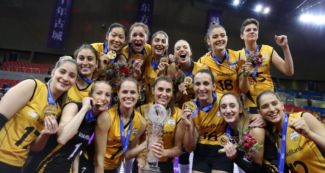 Vakıfbank team poses after their victory in the finals in China.