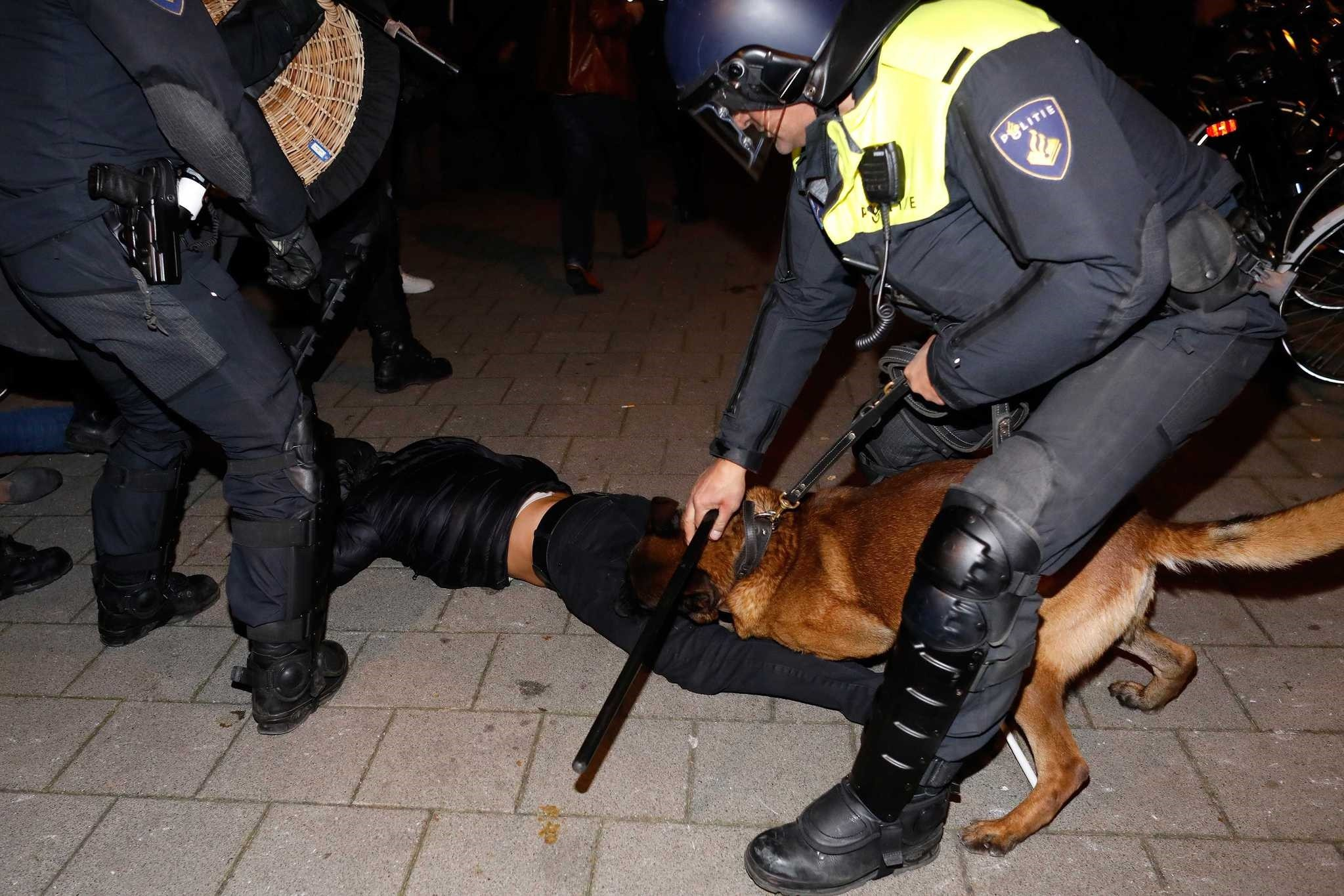 Dutch police forcefully dispersed peaceful demonstrators including the usage of K9 police dogs, water cannons and mounted police during which several protesters and reporters were injured, early Sunday.