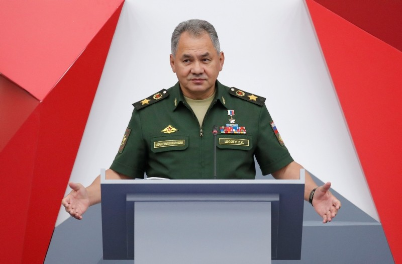 Russia's Defence Minister Sergei Shoigu delivers a speech during the annual international military-technical forum ,ARMY, at Patriot Expocentre in Moscow Region, Russia August 21, 2018. (Reuters Photo)