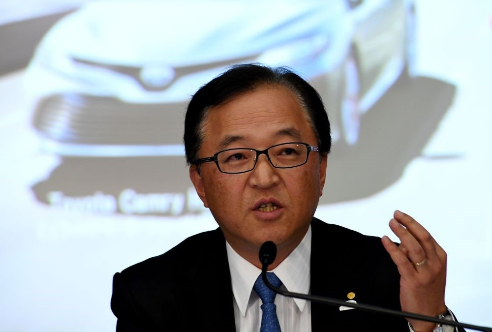 Toyota Motors Managing Director Tetsuya Otake answers a question during the company's earnings press conference at their Tokyo headquarters on Feb. 6.
