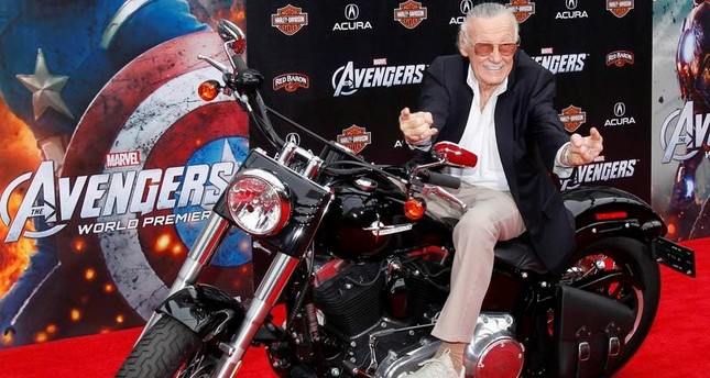 Comic book creator and executive producer Stan Lee poses on a motorcycle at the world premiere of the film Marvel's The Avengers in Hollywood, California, in this April 11, 2012, file photo. (REUTERS Photo)