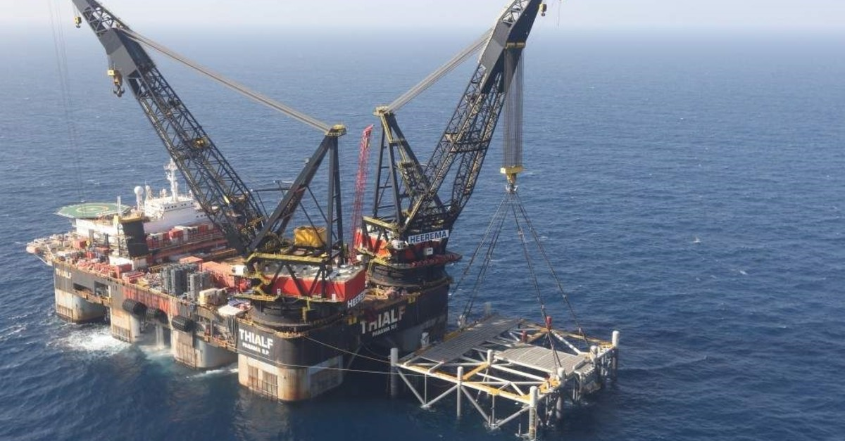 An oil platform in the Leviathan natural gas field, in the Mediterranean Sea off the Israeli coast. (AP Photo)