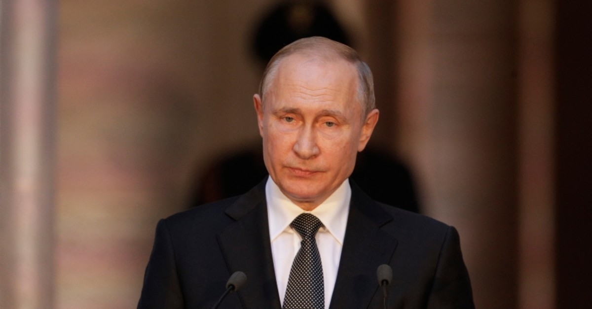 Russian President Vladimir Putin holds a joint press conference at the Chigi palace with Italian Premier Giuseppe Conte (not in picture) after their meeting, in Rome, Thursday, July 4, 2019. (AP Photo)