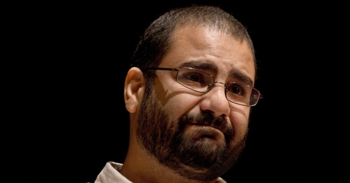 In this Sept. 22, 2014, file photo, Egypt's leading pro-democracy activist Alaa Abdel-Fattah speaks about his late father Ahmed Seif, one of Egypt's most respected human rights lawyers, at the American University in Cairo, Egypt. (AP Photo)