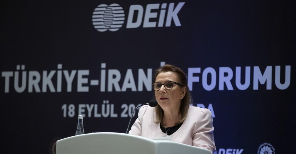 Trade Minister Ruhsar Pekcan speaks during the Turkey-Iran Business Forum, Ankara, Sept. 18, 2019.