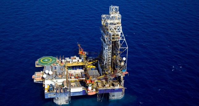 An aerial view of the Tamar Lease natural gas rig, in northern Israel.