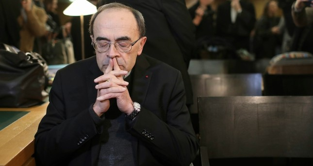 In this Jan. 7, 2019 file photo, French Cardinal Philippe Barbarin waits for the start of his trial at the Lyon courthouse, central France. (AP Photo)
