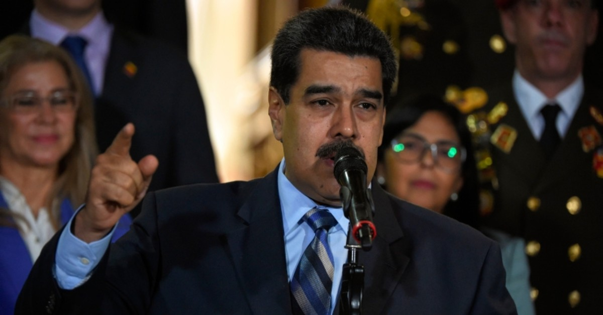 Venezuelan President Nicolas Maduro speaks after meeting Chilean High Commissioner for Human Rights Michelle Bachelet at Miraflores Presidential Palace in Caracas, on June 21, 2019 (AFP Photo)