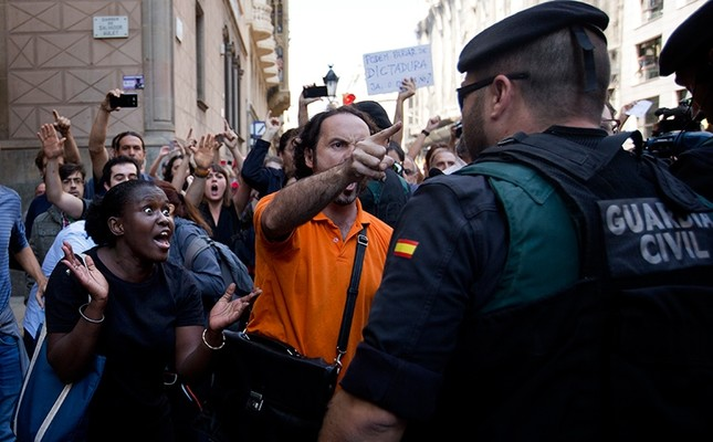 Image result for photos, spanish police, catalonia protests