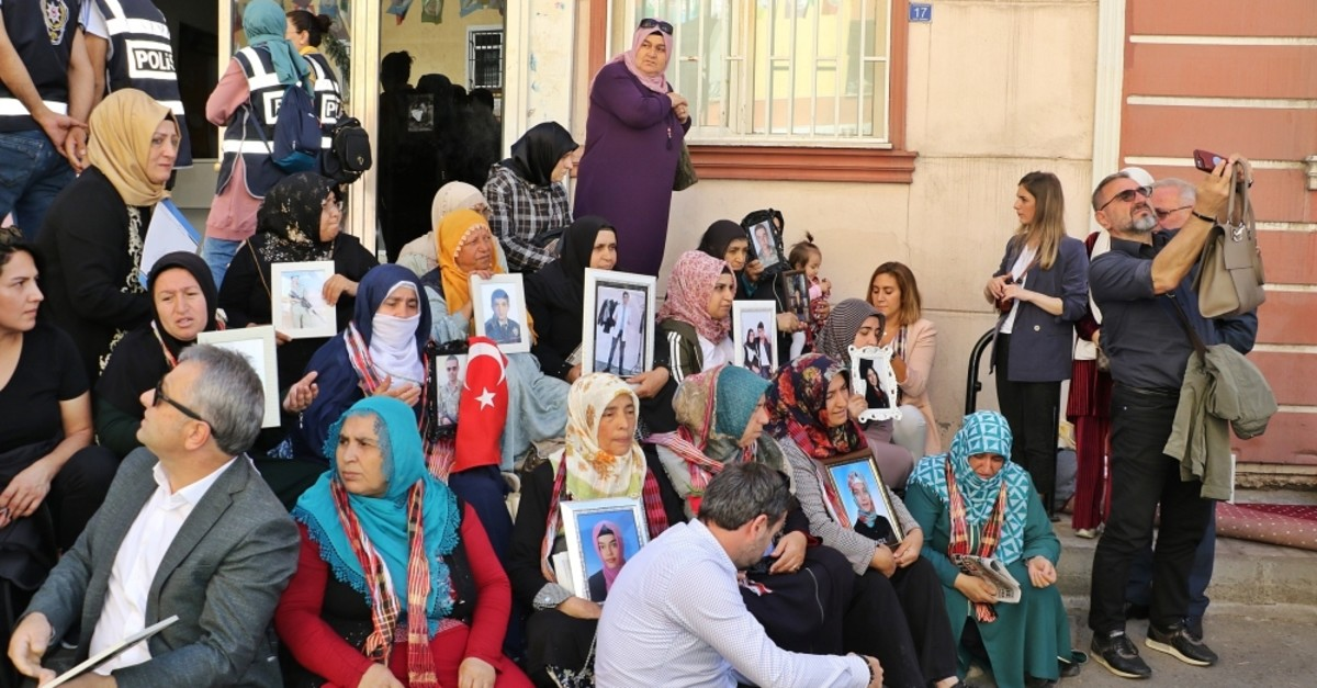 A sit-in protest launched in front of the Peoples' Democratic Party's (HDP) Diyarbaku0131r provincial headquarters by mothers whose children were kidnapped by the terrorist group has been going on since the first week of September, Sept. 24, 2019.