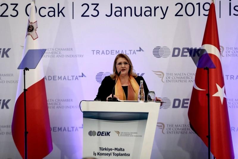 Maltese President Preca at the Turkey-Malta Business Council in Istanbul (AA Photo)