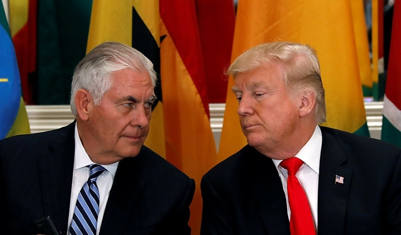 U.S. President Donald Trump and Secretary of State Rex Tillerson confer during a working lunch with African leaders during the U.N. General Assembly in New York, U.S. on September 20, 2017 (Reuters File Photo)