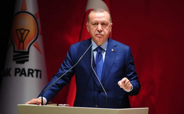 President Recep Tayyip Erdoğan speaks during the extended meeting with provincial heads at the Justice and Development Party AK Party headquarters, Ankara, Nov. 20, 2019. IHA Photo