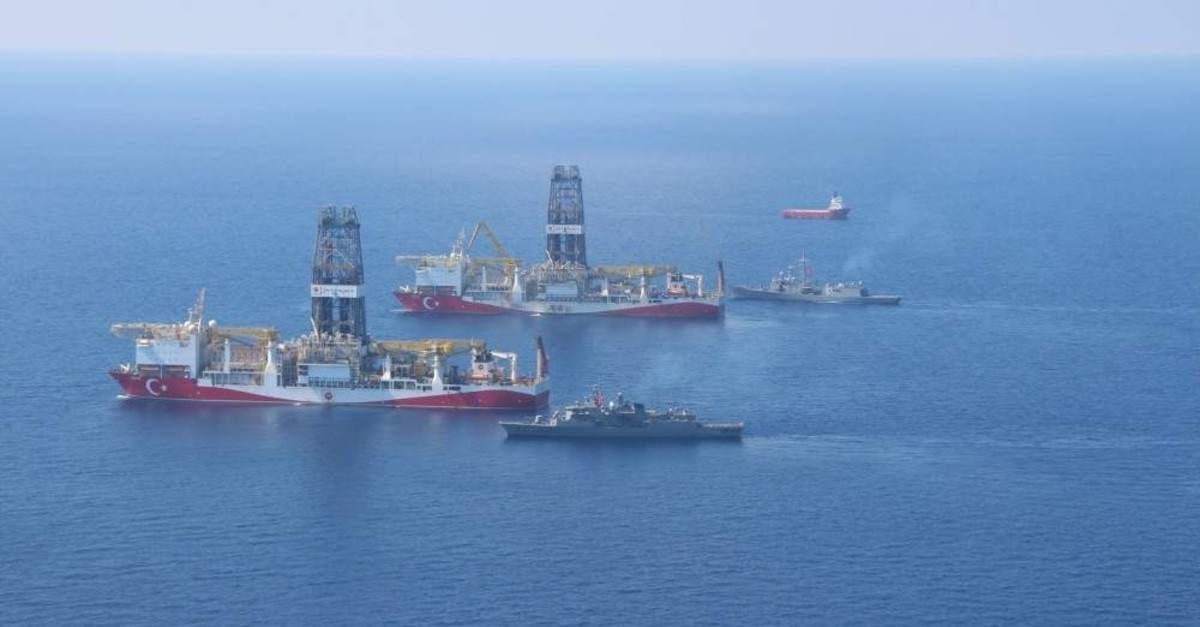 Turkey's drilling vessels Fatih and Yavuz, as well as the seismic vessel Barbaros Hayreddin Pa?a, are operating in the Eastern Mediterranean accompanied by Turkish navy frigates. (?HA Photo)