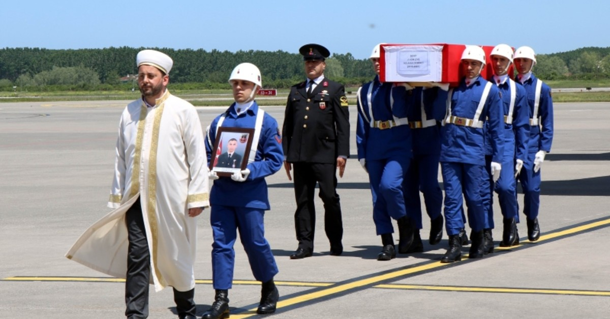 Funeral held for Specialist Sergeant Volkan Demirci, who was killed by PKK harassment fire in Hakkariu2019s Yu00fcksekova district. (IHA Photo)