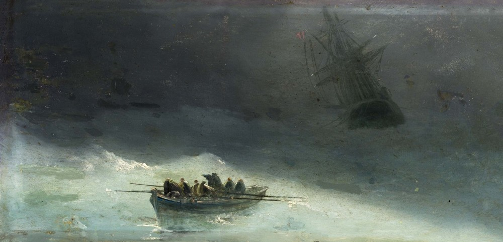 Fausto Zonaro, ,Boat in the Storm, is one of the works displayed in the new exhibit hall.