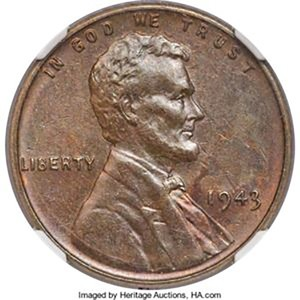 Image of the 1943 bronze coin by Heritage Auction