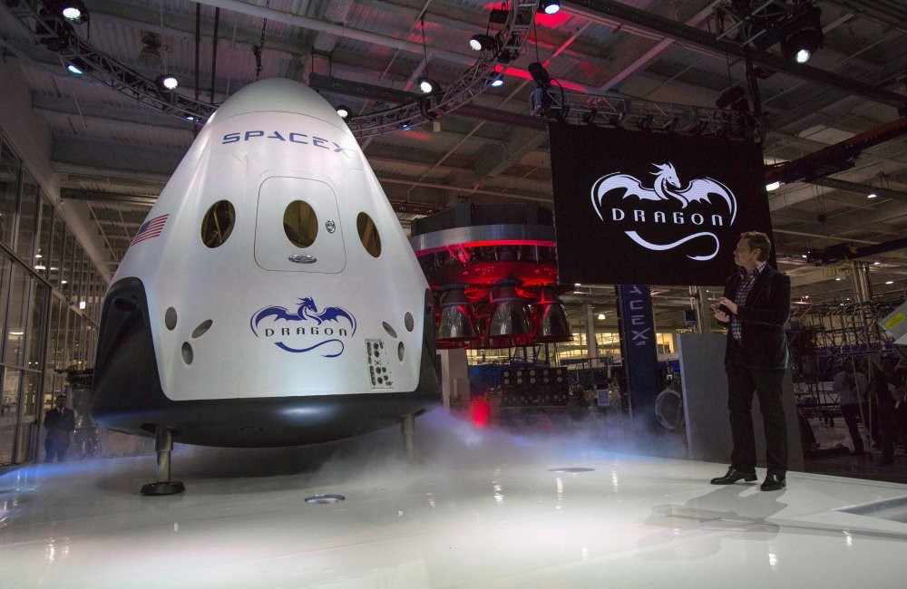 SpaceX CEO Elon Musk unveils the Dragon V2 spacecraft in California.