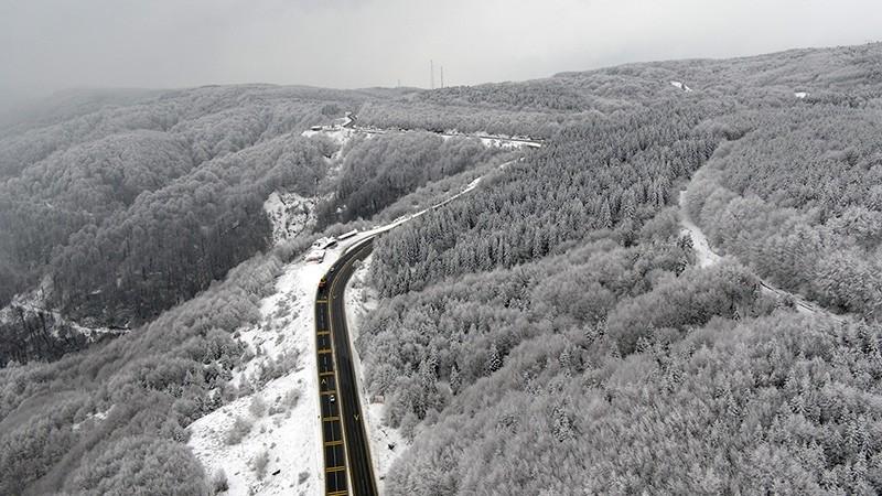Bolu city covered in snow (IHA Photo)