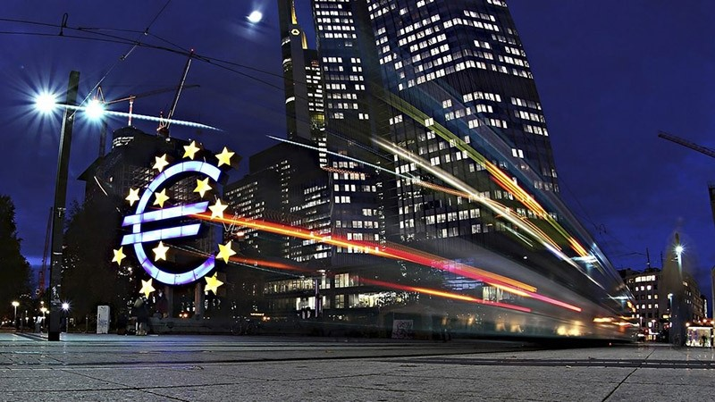 The giant Euro symbol stands illuminated outside the headquarters of the European Central Bank (ECB) on November 5, 2012 in Frankfurt, Germany. (Getty Images)