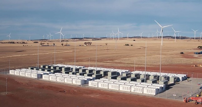 This screen grab from an undated handout video from a drone received by AFP on December 1, 2017 from French energy firm Neoen shows the Tesla 100 MW/129 MWh Powerpack system AFP Photo