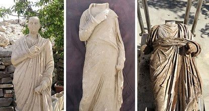 pThree unique ancient statues from the third century A.D. have been discovered during archaeological excavations in Turkey's southwestern Antalya province, Culture and Tourism Ministry said...