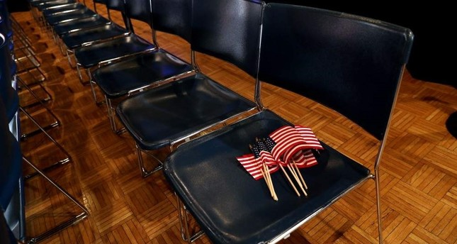 Flags are left on a seat before a rally by former Vice President Joe Biden in Des Moines, Iowa, U.S., Feb. 3, 2020. Reuters Photo