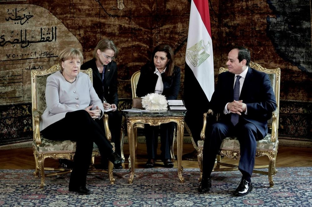 German Chancellor Angela Merkel meets with Egyptian President Abdel-Fattah el-Sissi at the presidential palace in Cairo, Egypt, March 2.